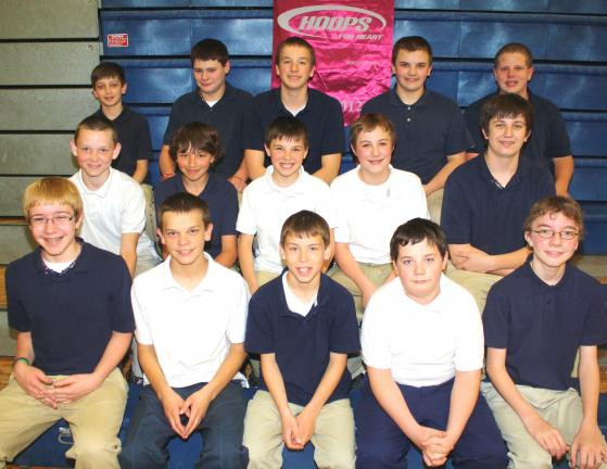 ANDREW LEIBENGUTH/TIMES NEWS 7th grade boys pictured from front left are Josh Gordon, Dakota Boyer, Matt Swan, Kyle Schmoyer and Ryan Moyer. Middle row from left are Zeke Wassell, Adam Melnick, Raymond Kinder, Josh Derrick and Billy Deer. Third row…
