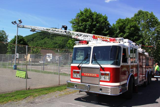 "ANDREW LEIBENGUTH/TIMES NEWS Members of the Tamaqua Area Willing and Skate Park Association received assistance from the Tamaqua Fire Department and Tamaqua Borough to change light bulbs, as well as re-aiming the lights. ""We are planning many…"
