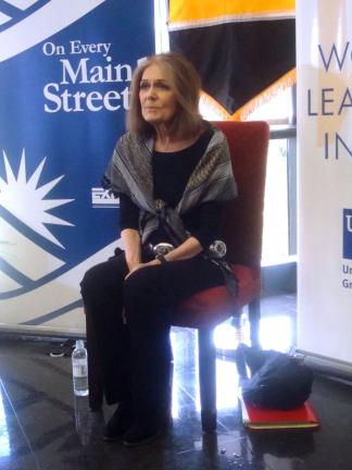 DAVID AMERMAN/SPECIAL TO THE TIMES NEWS Writer and feminist activist Gloria Steinem speaks to the media before taking the stage at Cedar Crest College's Lees Gymnasium for her keynote address at the third annual Lehigh Valley Women's Summit June 7.