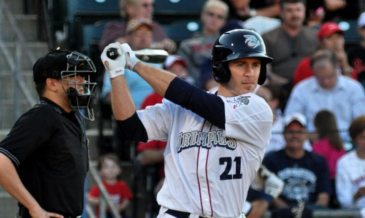 MIKE FEIFEL/TIMES NEWS Chase Utley takes a swing before stepping into the batter's box last night on a rehab assignment with the Lehigh Valley IronPigs. He went 2-for-5 and hit a home run in a 10-3 win over Rochester.