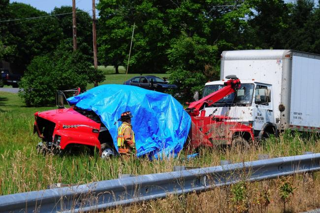 LARRY NEFF/SPECIAL TO THE TIMES NEWS Five persons were killed in this crash Thursday afternoon at the intersection of Mountain and Bake Oven Knob roads in Heidleberg Township, Lehigh County.