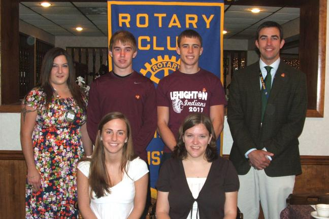 MICHAEL A. HEERY/SPECIAL TO THE TIMES NEWS Lehighton Rotary Club recently recognized the top participants in this year's essay contest for high school juniors. Pictured seated, left to right, are first place winner Rachel Schor and Lehighton Rotary…