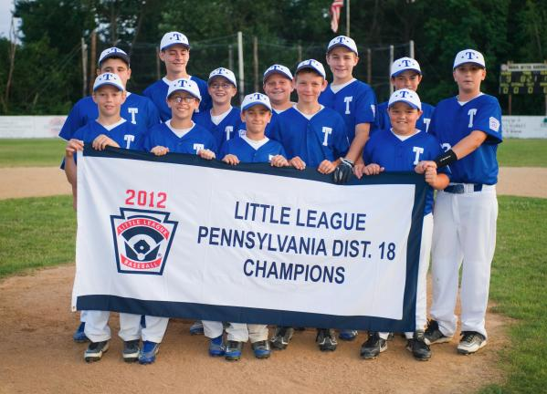 BOB FORD/times news The Tamaqua 11-12 year old All-Star team proudly displays the District 18 11-12 year old banner after sweeping through the tournament unbeaten. Tamaqua defeated Franklin Township to advance to this weekend's sectionals.