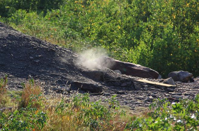 Toxic gas and smoke rise from the underground mine fire, which has been burning below Centralia since May 1962.