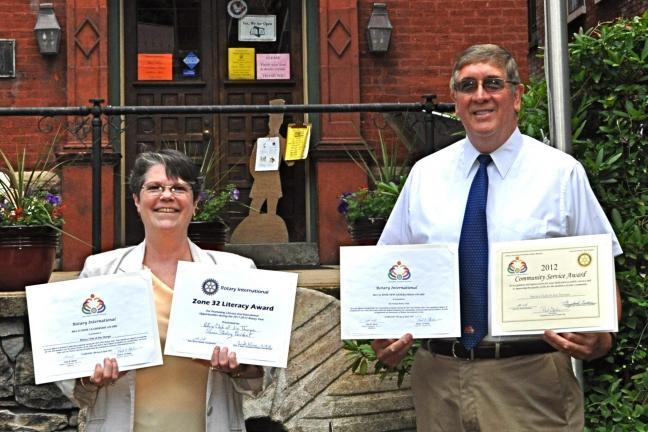 VICTOR IZZO/SPECIAL TO THE TIMES NEWS Rotary Club president Susan Sterling and vice president Bob Stevenson display the four award certificates that the Rotary Club of Jim Thorpe recently received at the District 7410 Awards Banquet.