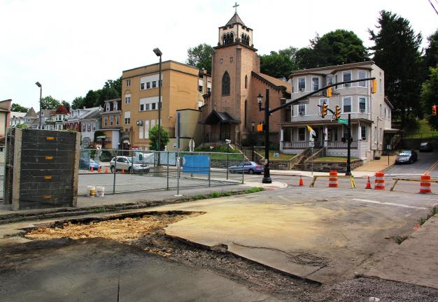 ANDREW LEIBENGUTH/TIMES NEWS Pictured is Swatara Street in Tamaqua. The street is currently closed while borough workers and contractors perform sewer and water line repairs.