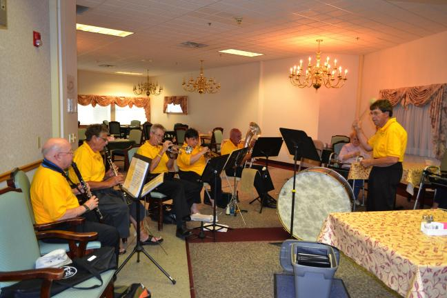 SHERI RYAN/SPECIAL TO THE TIMES NEWS The Parryville Band entertained residents of Maple Shade Meadows on Tuesday evening. From left are Ray Hontz, Eileen Sowden, Bill Green, Robbi Ahner, Earl Knappenberger and Ron Sowden.