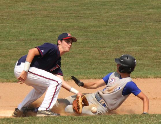 LINDA ROTHROCK/Special to THE TIMES NEWS Palmerton's Ty Achtermann slides safely into second base in a Connie Mack State Tournament game against Doylestown over the weekend.