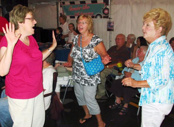 "Dancing to ""Chantelle Lace"" are, from left, Betty Smith of Weatherly, Ann Marie Shenosky of White Haven, and Patsy Walton of Weatherly."