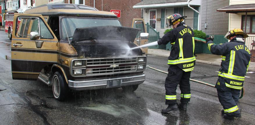 Police and firefighters were called to a van on fire just before 6 p.m. on Saturday at the one-hundred block of North Railroad Street in Tamaqua. Witnesses said they saw fire shooting from under the hood and inside the seating compartment. Good…