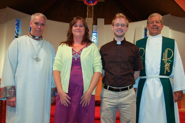 Among those awarded scholarships by the Rev. Robert vonFrisch, were, from left, Chris Rothharpt, Deborah Taylor, and Joshua Ferris and the Rev. vonFrisch.