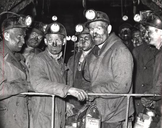CALL CHRONICLE PHOTO Chester Gangaware, second from right, with fellow coal miner Frankie Edmondson of Summit Hill and others in 1952.