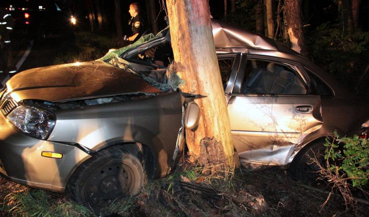 ANDREW LEIBENGUTH/TIMES NEWS The tree's impact caused the tree to crush the driver's side of the vehicle.