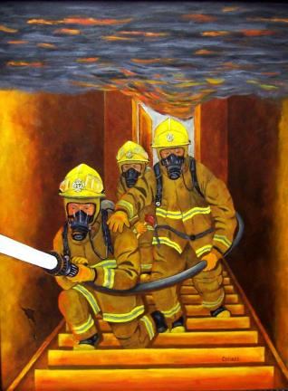 "SPECIAL TO THE TIMES NEWS ""Movin' In"" is the acrylic painting by Anibal ""Andy"" Collazo that he is donating to the Jackson Township Volunteer Fire Department and will be on display at the 1st Annual Monroe-Carbon County Autumn Art Show."
