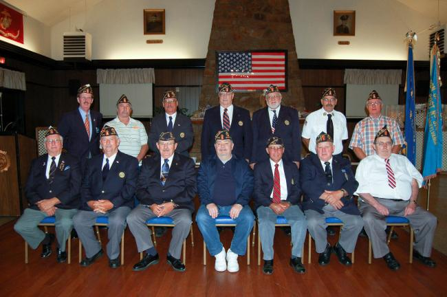 Gail Maholick/TIMES NEWS Officers were installed for Lehighton American Legion Post 314, for 2012-13. From left are, front row, Floyd C. Brown, commander; David Bryfogle, assistant Sgt. at arms; Larry Heffley, first vice commander; Charles J. Weber…