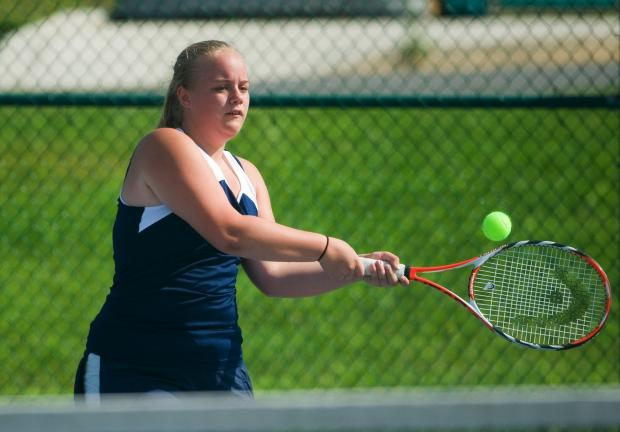 Bob Ford/TIMES NEWS Tamaqua's Sarah Zoba returns a shot during Wednesday's match against Blue Mountain.