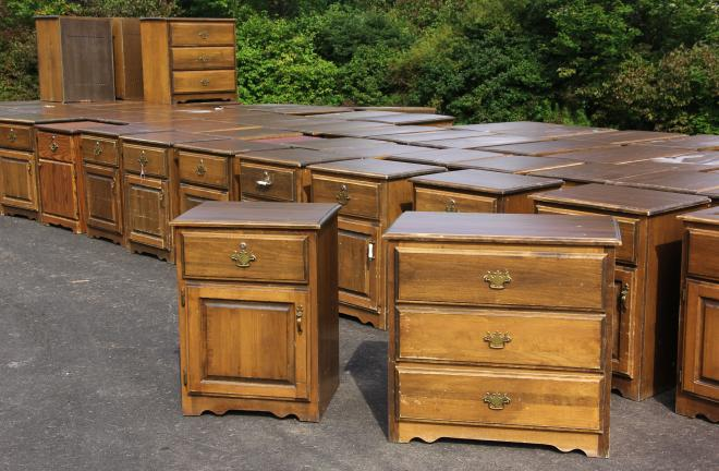 ANDREW LEIBENGUTH/TIMES NEWS Pictured are 72 used dressers and end tables donated to the event by the Hometown Nursing and Rehabilitation Center. All were given away.