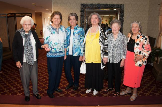 AMY MILLER/TIMES NEWS Six Heritage Hill Senior Community residents who participated in the first annual Fall Fashion Show are, from left, Jean Cogan, Ingeberg Kromer, Jacqueline Richardson, Natalie Strauss, Connie Biederman and Nellie Johnson.