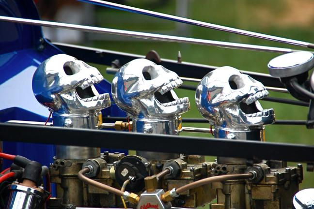 VICTOR IZZO/SPECIAL TO THE TIMES NEWS Gas Guzzlers? Is that what these skull-shaped carburetor intakes at the Wheels of Time Car Show this past weekend in Macungie might look like to some people?