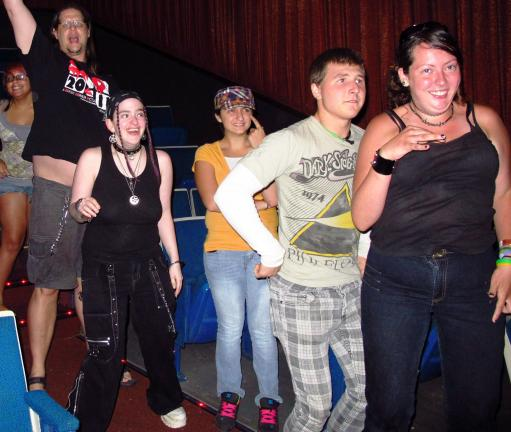 ANDREW LEIBENGUTH/TIMES NEWS FILE PHOTO Showing her fun side, Erica Dolan, on far right, participates with friends during a Rocky Horror Picture Show held in July to raise donations for a child and grandmother who drowned in the Lehigh River.