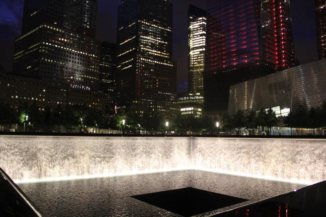 Pictured at the National 9/11 Memorial is the North Pool, one of two 30-foot deep reflecting pools, with cascading waterfalls set within the one-acre footprints of the original twin towers.