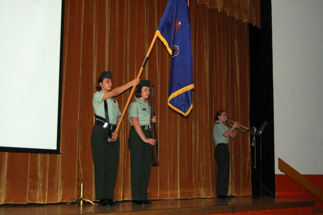 CHRIS PARKER/TIMES NEWS Panther Valley JROTC Cadet SFC Natasha Scerbo holds a flag, with Cadet Samantha Schuch presenting a rifle, as battalion executive Officer Roxeann Person plays the trumpet at a ceremony Tuesday commemorating the Sept. 11, 2001…