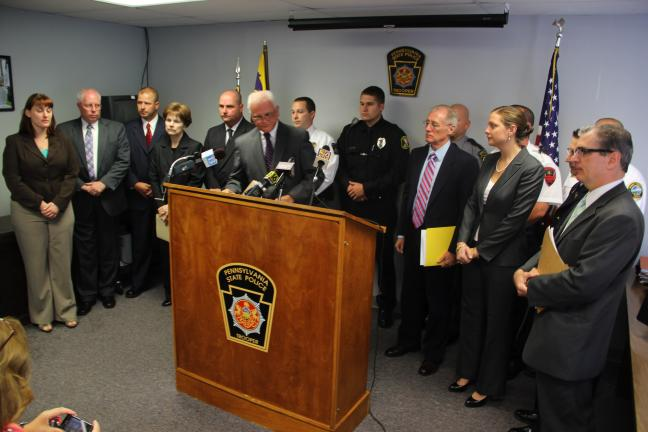 ANDREW LEIBENGUTH/TIMES NEWS Federal, State and local officials, as well as police officers from local police departments, were on hand during a press conference held yesterday afternoon at the Hazleton State Police Barracks to announce federal…