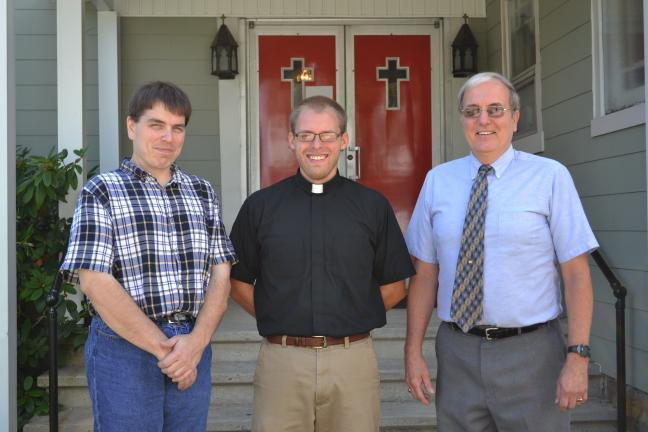SHERI RYAN/SPECIAL TO THE TIMES NEWS Vicar Ben Siebert is the new pastor-in-training for St. Paul's Lutheran Church, Summit Hill and Zion Lutheran Church, Nesquehoning. From left are Brian Buzik, secretary of church council at St. Paul's; Siebert;…