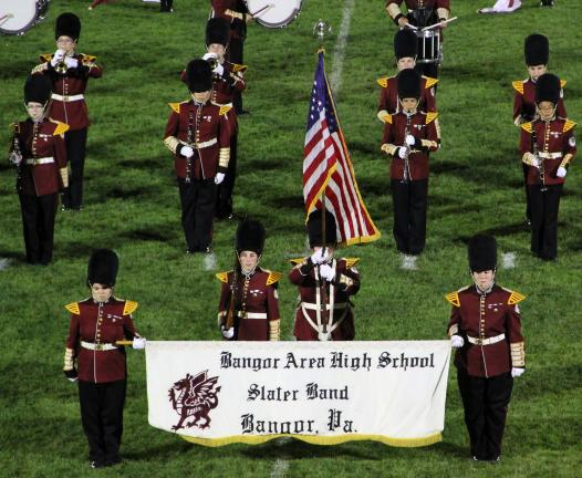 ANDREW LEIBENGUTH/TIMES NEWS Bangor High School Marching Band lines up prior to their performance.
