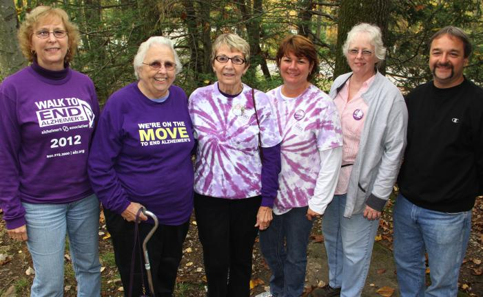 ANDREW LEIBENGUTH/TIMES NEWS Members and volunteers organized their 4th annual Alzheimer's Walk over the weekend at the Mauch Chunk Lake in Jim Thorpe. In addition to the walk, the event consisted of chair massages, sand art, Chinese auction, quilt…