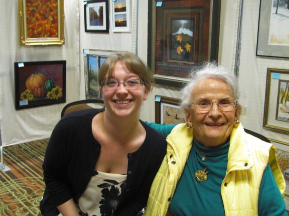 CAJETAN BERGER/SPECIAL TO THE TIMES NEWS Mary Kocher, 91, right, and Heather Wojcik, 19, represent the oldest and youngest member of the Carbon County Arts League. Both artists had their art in the exhibit.