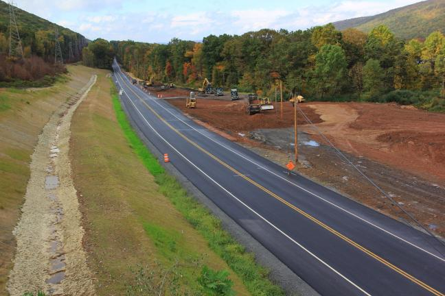 ANDREW LEIBENGUTH/TIMES NEWS Following about six months of non-stop construction, PennDOT contractors are nearing straightening work on the Hauto Cuve.