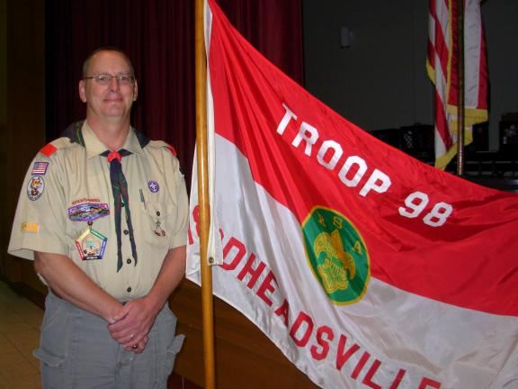ADELE R. ARGOT/SPECIAL TO THE TIMES NEWS Scoutmaster Steve Rhoads serves Troop 98 as leader. He is currently taking Wood Badge Leadership Development Training.