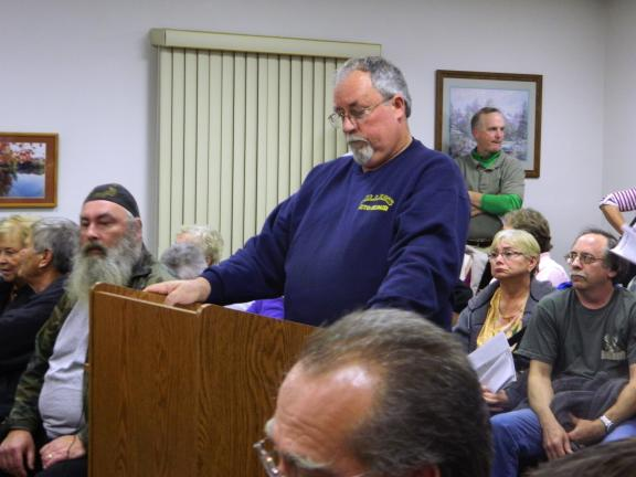 William Miller, of the Bear View development, is prepared to present a petition signed by the residents of Penn Forest Township who oppose the use of Bear Creek Drive for access to a property which that would feature a zip line and the Navitat…