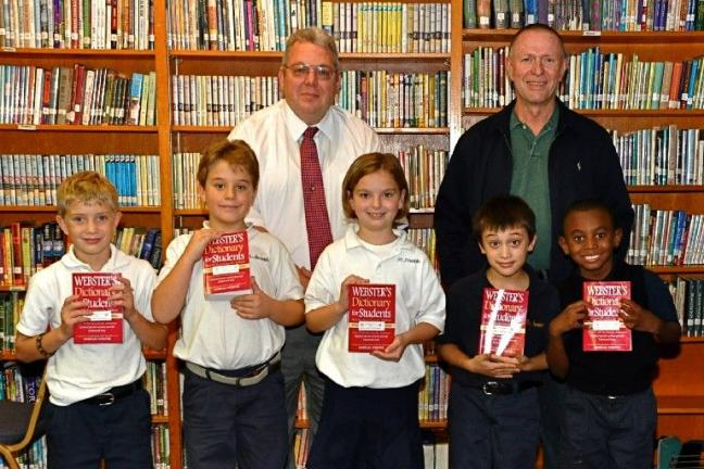"VICTOR IZZO/SPECIAL TO THE TIMES NEWS Students at St. Joseph Regional Academy happily display the new dictionaries donated to them courtesy of the Rotary Club of Jim Thorpe as part of a national program know as ""The Dictionary Project"". They are,…"
