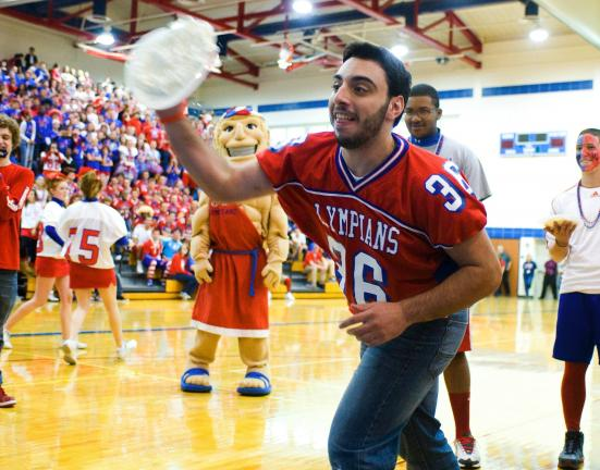 BOB FORD/TIMES NEWS Jim Thorpe students recently paid for a chance to throw a pie at head football coach Mark Rosenberger, assistant coach Mike McGonigal or athletic director Dustin McAndrew. The money raised from the pep rally will help the family…