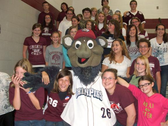"MICHAEL A. HEERY/SPECIAL TO THE TIMES NEWS Popular mascot for the Lehigh Valley IronPigs, FeRROUS was surprise ""special guest"" at the spirited pep rally at Lehighton Area Middle School on Friday. Pictured is FeRROUS joking with Beth Perkins' seventh…"