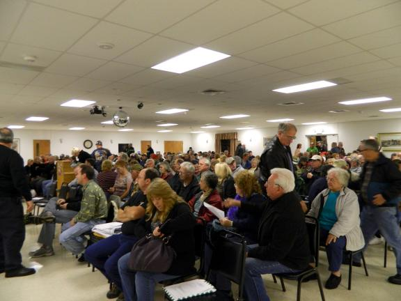 JUDY DOLGOS-KRAMER/SPECIAL TO THE TIMES NEWS Hundreds of residents showed up at Penn Forest Vol. Fire Company 1 for the Penn Forest Township Planning Commission meeting Thursday to discuss the proposed Navitat Canopy Adventure application.