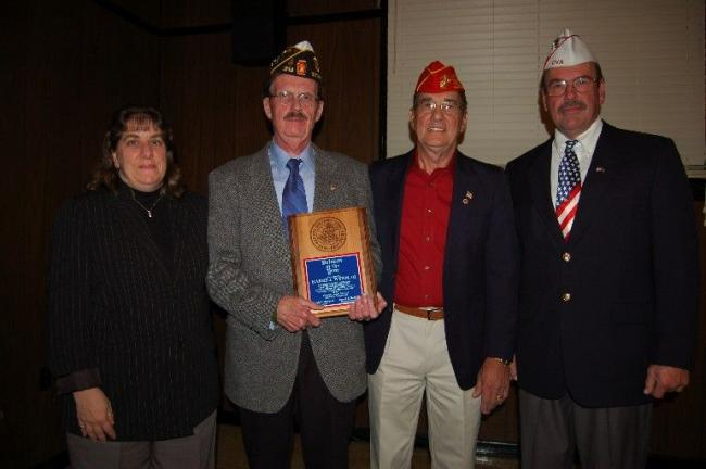GAIL MAHOLICK/TIMES NEWS Harry J. Wynn III was the recipient of the Carbon County Veterans Council Veteran of the Year. From left are, Laurel McHugh, CCVC secretary-treasurer; Wynn; Joe Balogach, CCVC president; and Hank Desrosiers, director of…
