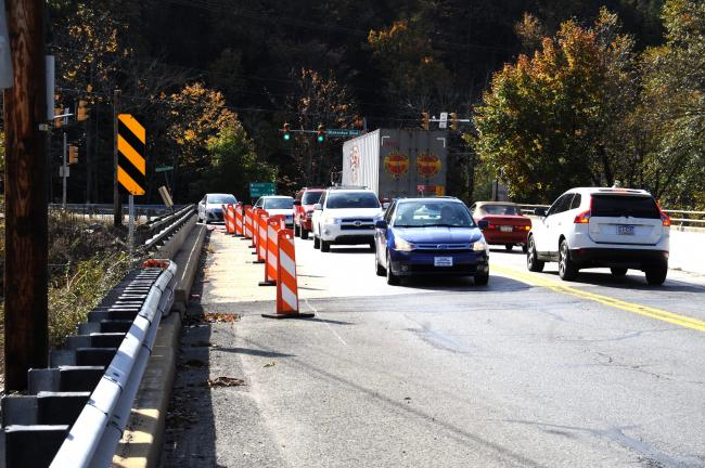 RON GOWER/TIMES NEWS The Ninth Street Bridge in Lehighton is utilized heavily. Because of rotational movement of the two wing walls on the southern abutment, the outer perimeters of the bridge are blocked to both vehicular and pedestrian traffic.