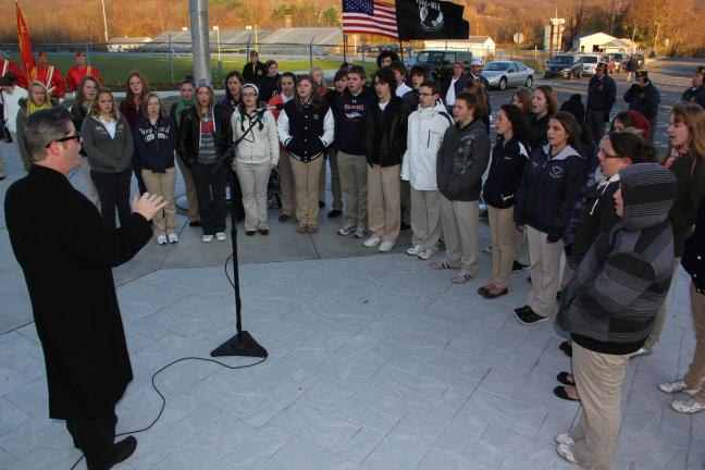 ANDREW LEIBENGUTH/TIMES NEWS Members of the Tamaqua High School Jazz Chorale sing patriotic songs during the event.