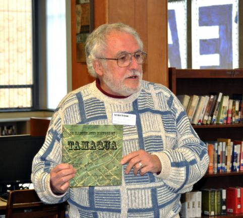 DONALD R. SERFASS/TIMES NEWS Tamaqua native R. Thomas Berner, retired PSU journalism professor, shares early career memories and provides advice to budding journalists of the Tamaqua Area High School Blue and White magazine.