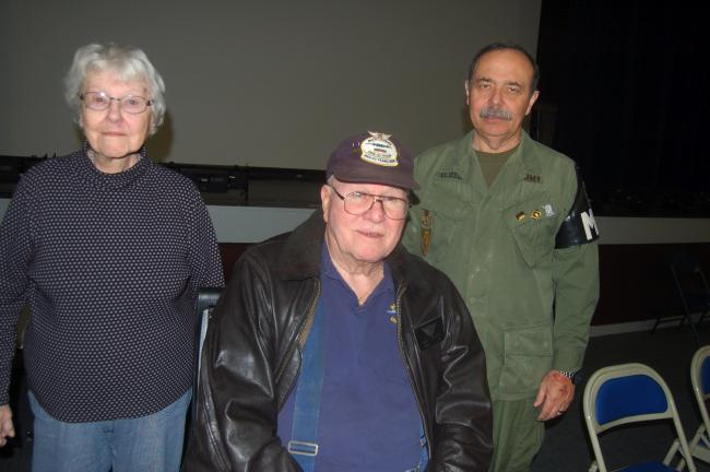 TERRY AHNER/TIMES NEWS Area veterans who spoke to Palmerton Area High School students at a recent Veterans Day assembly were (l-r) Marion Jones, Earl Henning, and Stephen Vlossak.