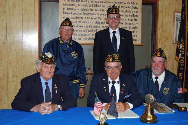 ELSA KERSCHNER/TIMES NEWS Oplinger-Hower Post 899 of the American Legion in Lehigh Township named its officers for 2012-13. Pictured are Fred Siler, chaplain; Allen Schaeffer, adjutant; Frank Soldridge, finance officer; Harry Deibert Jr., commander;…