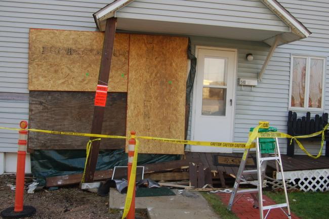 TERRY AHNER/TIMES NEWS This home at 510 1/2 Lehigh Avenue was heavily damaged Saturday afternoon after a vehicle operated by Cynthia Roberts, 60, of Palmerton, struck it after the handicapped assist lever on her vehicle got stuck while she was…