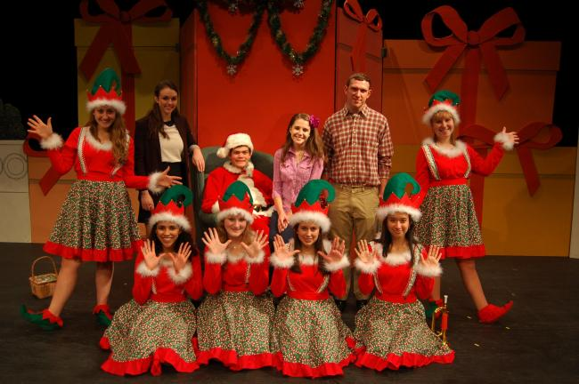 "LINDA KOEHLER/TIMES NEWS This scene from Pleasant Valley High School's production of ""Miracle on 34th Street"" features, front row, left to right, Elves Hailey Blanding, Rachel Weinrich, Katina Foley and Angleica Ramirez and back row, Elf Lisa…"