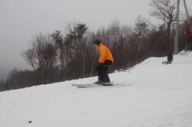This skier shows his form on the slopes of Blue Mountain Ski Area, which opened on Saturday.