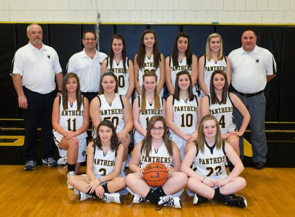 "bob ford/times news Panther Valley girls basketball team members include, front row, from left, Megan Marouchoc, Jess Jacobs, Samantha Jones. Middle row, Brianna Picht, Sam Zlock, Amy Corby, Taylor Vance, Madison Blasko. Back row, coach Bill ""Dapper…"