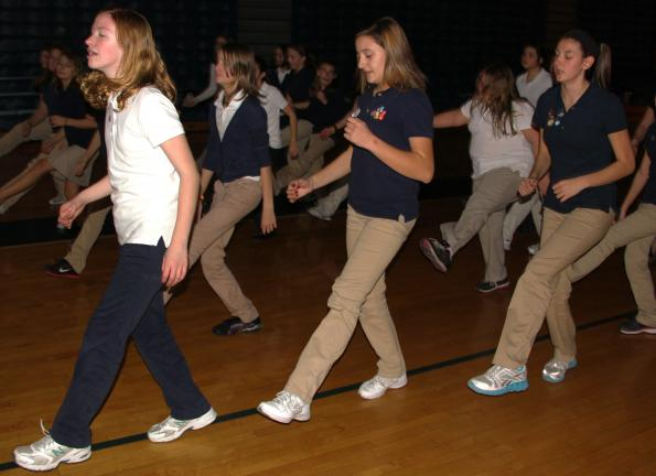 ANDREW LEIBENGUTH/TIMES NEWS Sixty Tamaqua Area Middle School students from grades 6th to 8th were treated to dance activities after being selected for earning more than 20 points in accelerated reading. Language Arts teacher Kristine Shellhammer…