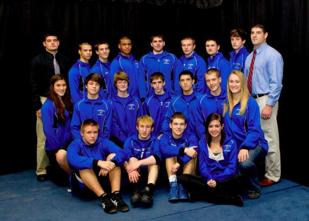 RICH GEORGE/Special to THE TIMES NEWS The Palmerton wrestling team will include: FRONT: Matt Wolfe, Dillon Masington, Dan Russo and Dakota Graham (manager). Second row, same order Sabrina Strauch (manager), Travis Stroup, Damien Fink, Branden…